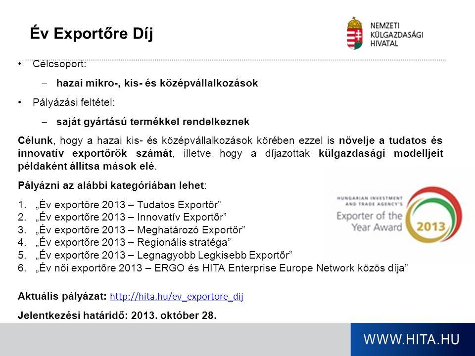 Év Exportőre Díj Célcsoport:  hazai mikro-, kis- és középvállalkozások Pályázási feltétel:  saját gyártású termékkel rendelkeznek Célunk, hogy a haz