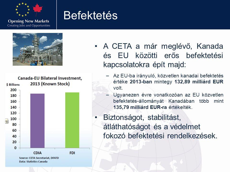 Befektetés A CETA a már meglévő, Kanada és EU közötti erős befektetési kapcsolatokra épít majd: –Az EU-ba irányuló, közvetlen kanadai befektetés értéke 2013-ban mintegy 132,89 milliárd EUR volt.