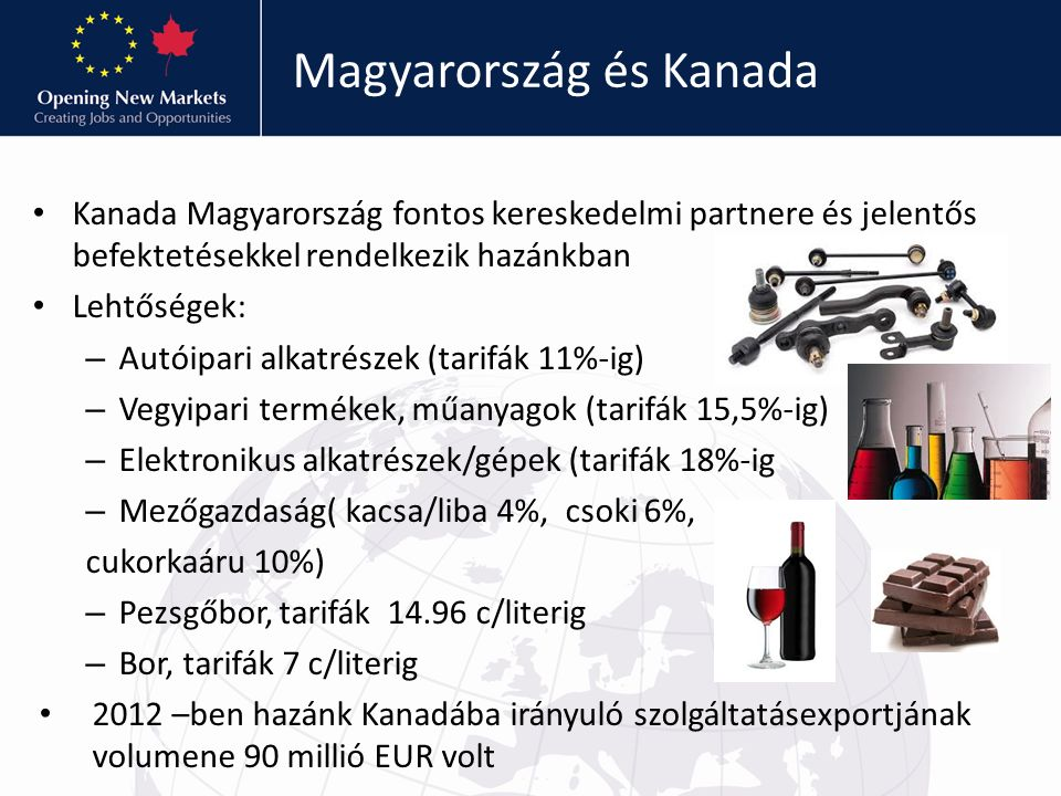 Magyarország és Kanada Kanada Magyarország fontos kereskedelmi partnere és jelentős befektetésekkel rendelkezik hazánkban Lehtőségek: – Autóipari alka