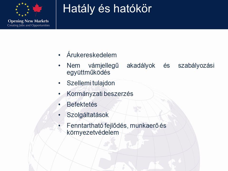 Magyarország és Kanada Kanada Magyarország fontos kereskedelmi partnere és jelentős befektetésekkel rendelkezik hazánkban Lehtőségek: – Autóipari alkatrészek (tarifák 11%-ig) – Vegyipari termékek, műanyagok (tarifák 15,5%-ig) – Elektronikus alkatrészek/gépek (tarifák 18%-ig – Mezőgazdaság( kacsa/liba 4%, csoki 6%, cukorkaáru 10%) – Pezsgőbor, tarifák 14.96 c/literig – Bor, tarifák 7 c/literig 2012 –ben hazánk Kanadába irányuló szolgáltatásexportjának volumene 90 millió EUR volt