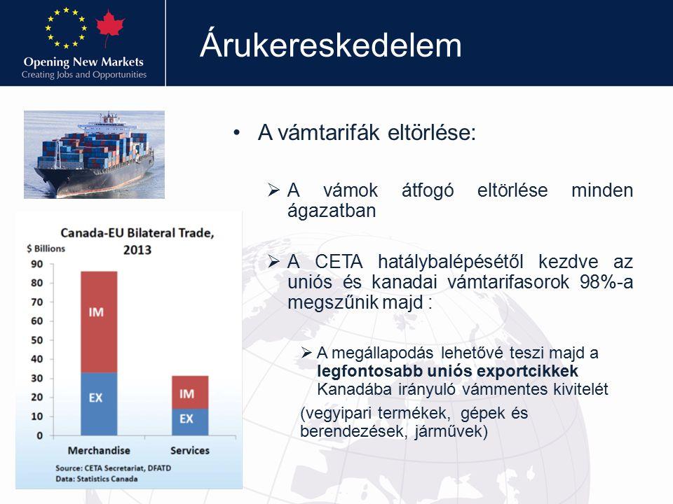 Árukereskedelem A vámtarifák eltörlése:  A vámok átfogó eltörlése minden ágazatban  A CETA hatálybalépésétől kezdve az uniós és kanadai vámtarifasorok 98%-a megszűnik majd :  A megállapodás lehetővé teszi majd a legfontosabb uniós exportcikkek Kanadába irányuló vámmentes kivitelét (vegyipari termékek, gépek és berendezések, járművek)