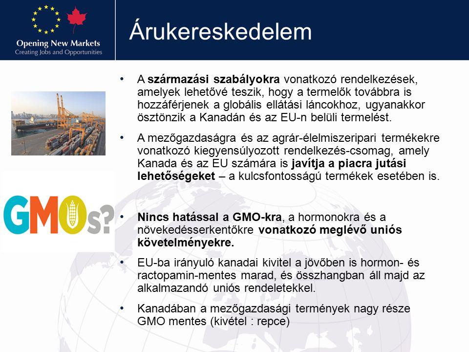 Árukereskedelem A származási szabályokra vonatkozó rendelkezések, amelyek lehetővé teszik, hogy a termelők továbbra is hozzáférjenek a globális ellátási láncokhoz, ugyanakkor ösztönzik a Kanadán és az EU-n belüli termelést.
