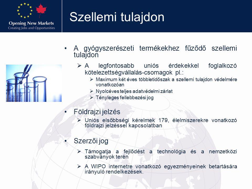 Szellemi tulajdon A gyógyszerészeti termékekhez fűződő szellemi tulajdon  A legfontosabb uniós érdekekkel foglalkozó kötelezettségvállalás-csomagok pl.:  Maximum két éves többletidőszak a szellemi tulajdon védelmére vonatkozóan  Nyolcéves teljes adatvédelmi zárlat  Tényleges fellebbezési jog Földrajzi jelzés  Uniós elsőbbségi kérelmek 179, élelmiszerekre vonatkozó földrajzi jelzéssel kapcsolatban Szerzői jog  Támogatja a fejlődést a technológia és a nemzetközi szabványok terén  A WIPO internetre vonatkozó egyezményeinek betartására irányuló rendelkezések.
