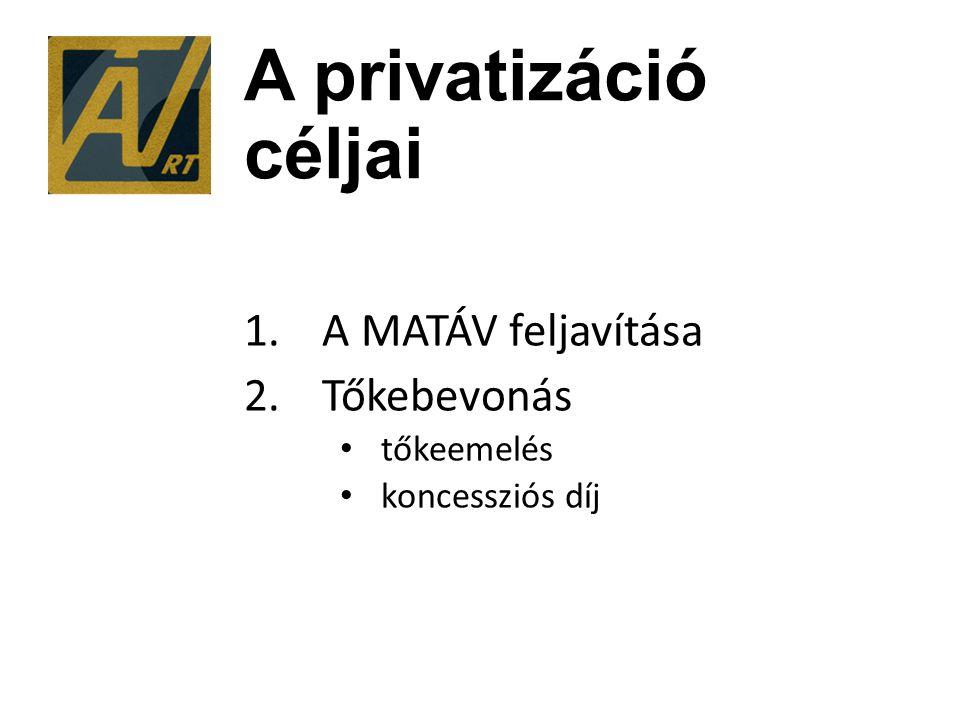 A privatizáció céljai 1.A MATÁV feljavítása 2.Tőkebevonás tőkeemelés koncessziós díj
