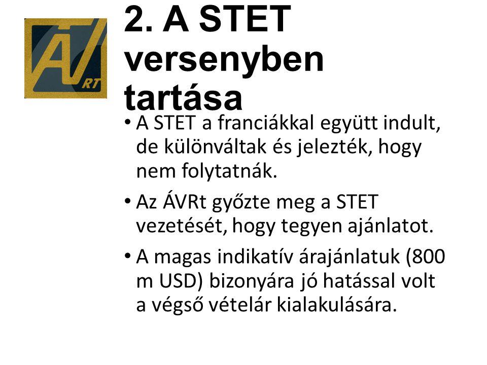 2. A STET versenyben tartása A STET a franciákkal együtt indult, de különváltak és jelezték, hogy nem folytatnák. Az ÁVRt győzte meg a STET vezetését,