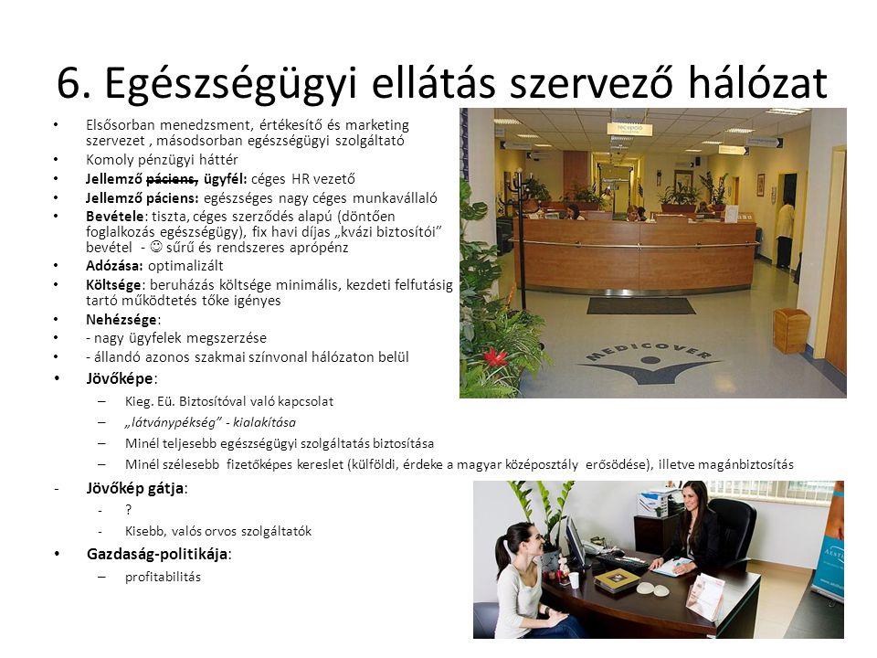 6. Egészségügyi ellátás szervező hálózat Elsősorban menedzsment, értékesítő és marketing szervezet, másodsorban egészségügyi szolgáltató Komoly pénzüg