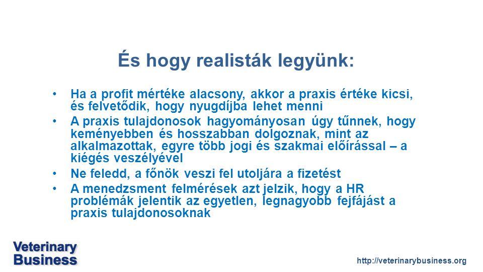 http://veterinarybusiness.org És hogy realisták legyünk: Ha a profit mértéke alacsony, akkor a praxis értéke kicsi, és felvetődik, hogy nyugdíjba lehet menni A praxis tulajdonosok hagyományosan úgy tűnnek, hogy keményebben és hosszabban dolgoznak, mint az alkalmazottak, egyre több jogi és szakmai előírással – a kiégés veszélyével Ne feledd, a főnök veszi fel utoljára a fizetést A menedzsment felmérések azt jelzik, hogy a HR problémák jelentik az egyetlen, legnagyobb fejfájást a praxis tulajdonosoknak