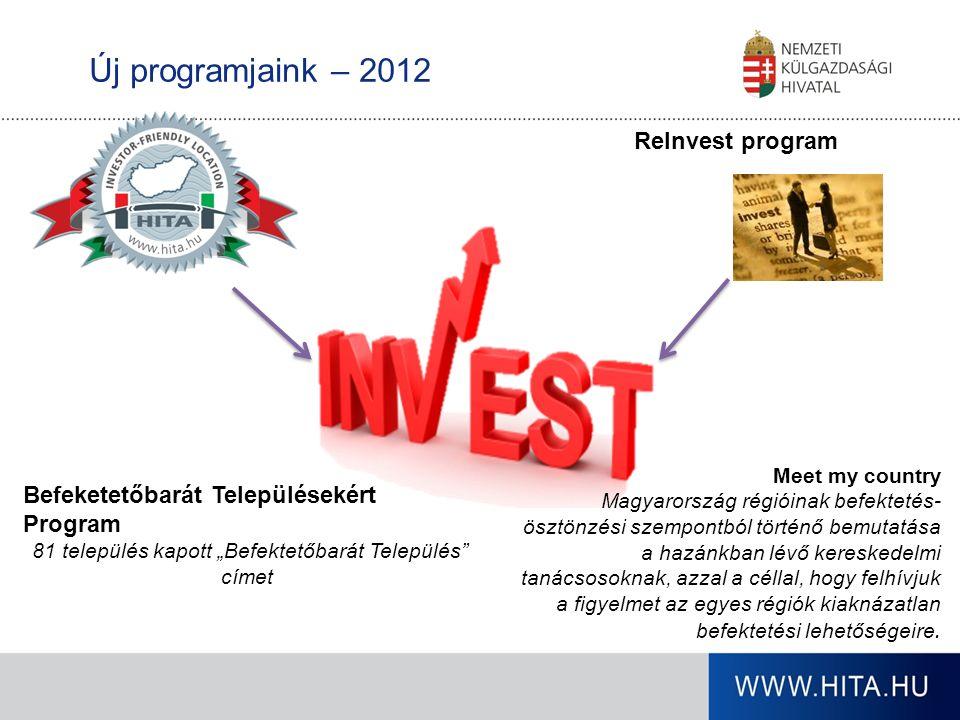 Új programjaink – 2012 ReInvest program Meet my country Magyarország régióinak befektetés- ösztönzési szempontból történő bemutatása a hazánkban lévő kereskedelmi tanácsosoknak, azzal a céllal, hogy felhívjuk a figyelmet az egyes régiók kiaknázatlan befektetési lehetőségeire.