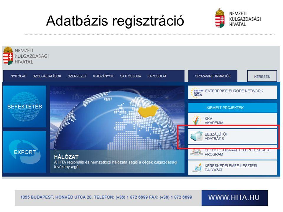 Adatbázis regisztráció