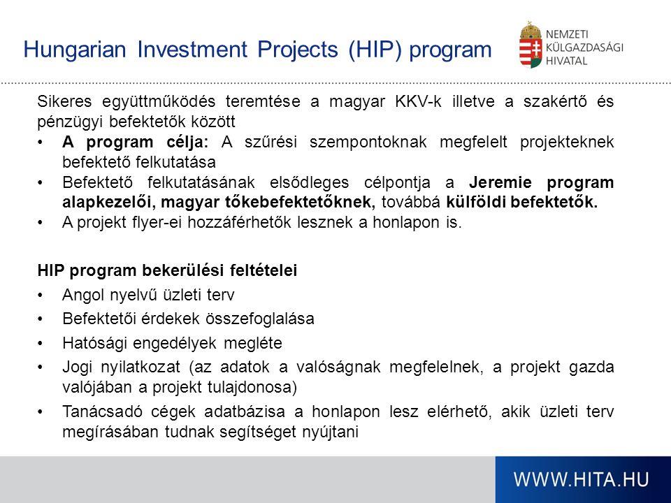 Hungarian Investment Projects (HIP) program Sikeres együttműködés teremtése a magyar KKV-k illetve a szakértő és pénzügyi befektetők között A program célja: A szűrési szempontoknak megfelelt projekteknek befektető felkutatása Befektető felkutatásának elsődleges célpontja a Jeremie program alapkezelői, magyar tőkebefektetőknek, továbbá külföldi befektetők.