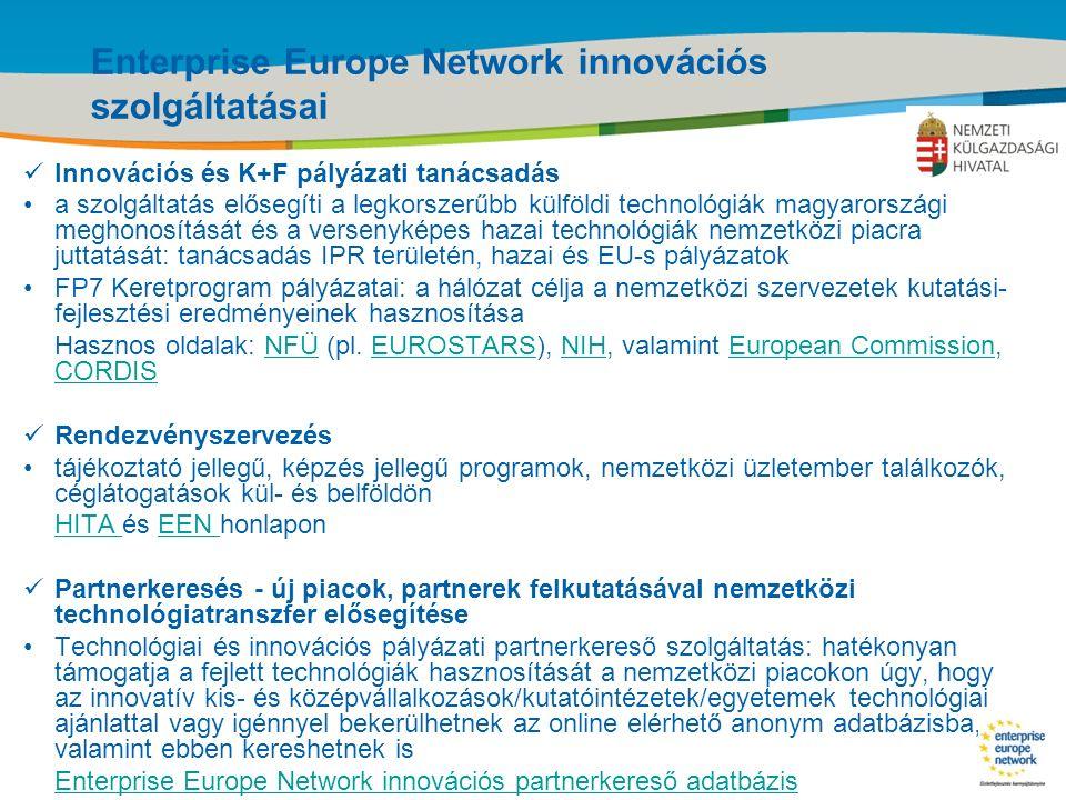 Title of the presentation | Date |‹#› Enterprise Europe Network innovációs szolgáltatásai Innovációs és K+F pályázati tanácsadás a szolgáltatás elősegíti a legkorszerűbb külföldi technológiák magyarországi meghonosítását és a versenyképes hazai technológiák nemzetközi piacra juttatását: tanácsadás IPR területén, hazai és EU-s pályázatok FP7 Keretprogram pályázatai: a hálózat célja a nemzetközi szervezetek kutatási- fejlesztési eredményeinek hasznosítása Hasznos oldalak: NFÜ (pl.