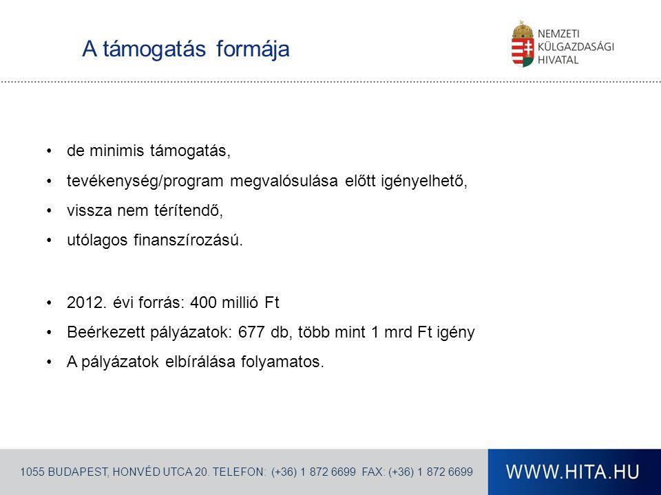 A támogatás formája 1055 BUDAPEST, HONVÉD UTCA 20.