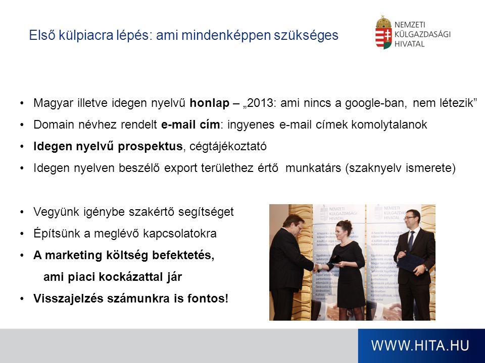 """Magyar illetve idegen nyelvű honlap – """"2013: ami nincs a google-ban, nem létezik Domain névhez rendelt e-mail cím: ingyenes e-mail címek komolytalanok Idegen nyelvű prospektus, cégtájékoztató Idegen nyelven beszélő export területhez értő munkatárs (szaknyelv ismerete) Vegyünk igénybe szakértő segítséget Építsünk a meglévő kapcsolatokra A marketing költség befektetés, ami piaci kockázattal jár Visszajelzés számunkra is fontos."""