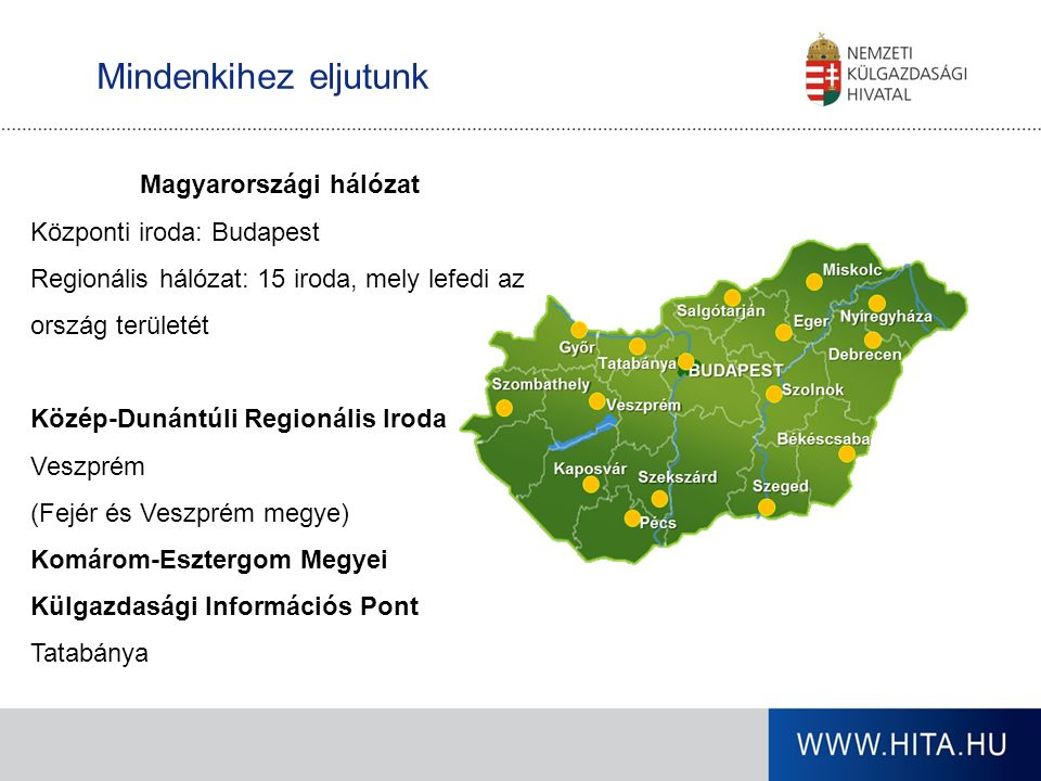 WWW.HITA.HU A külpiacra lépés előkészítése: külpiaci információgyűjtés lehetőségei Üzleti partnerközvetítési szolgáltatások