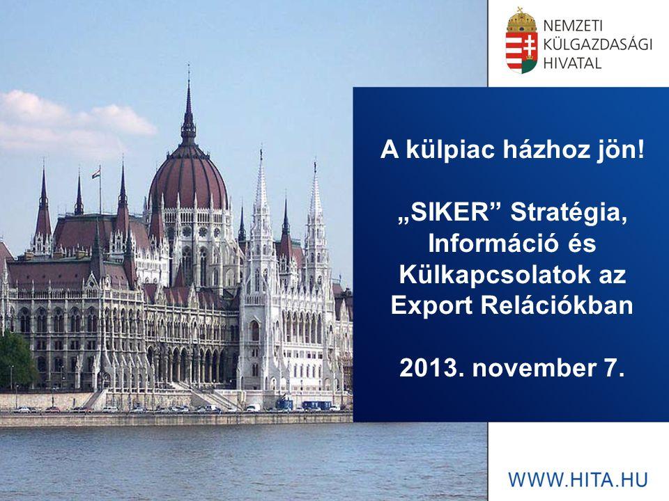 """A külpiac házhoz jön. """"SIKER Stratégia, Információ és Külkapcsolatok az Export Relációkban 2013."""