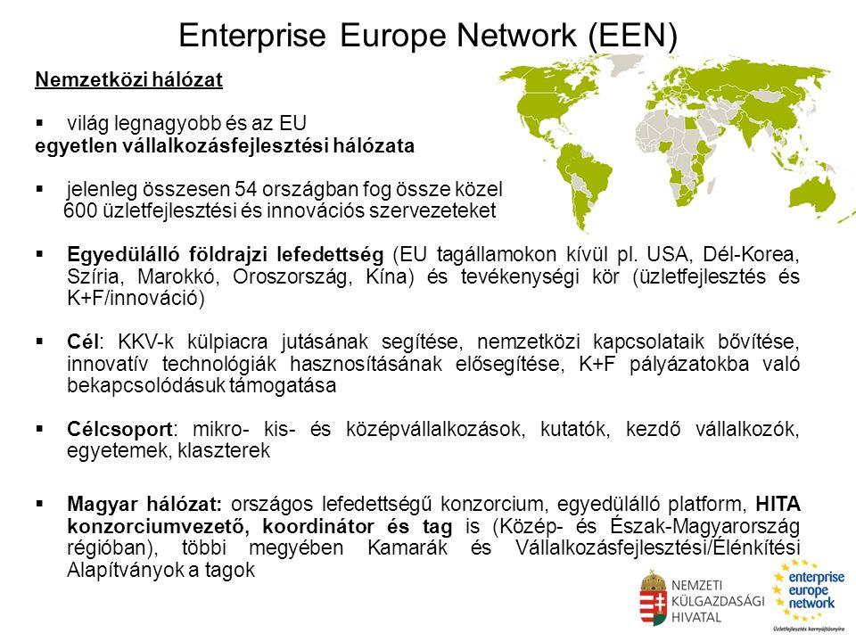 Enterprise Europe Network (EEN) Nemzetközi hálózat  világ legnagyobb és az EU egyetlen vállalkozásfejlesztési hálózata  jelenleg összesen 54 országban fog össze közel 600 üzletfejlesztési és innovációs szervezeteket  Egyedülálló földrajzi lefedettség (EU tagállamokon kívül pl.