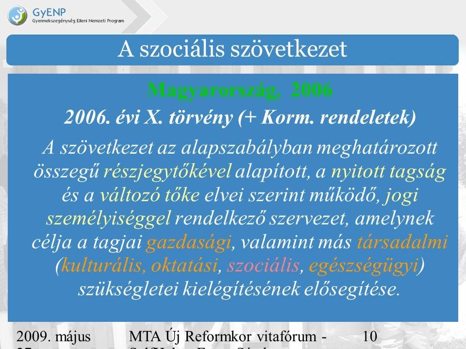 2009. május 27. MTA Új Reformkor vitafórum - SelfHelp - Ferge Sándor, eMultiCoop 10 A szociális szövetkezet Magyarország, 2006 2006. évi X. törvény (+