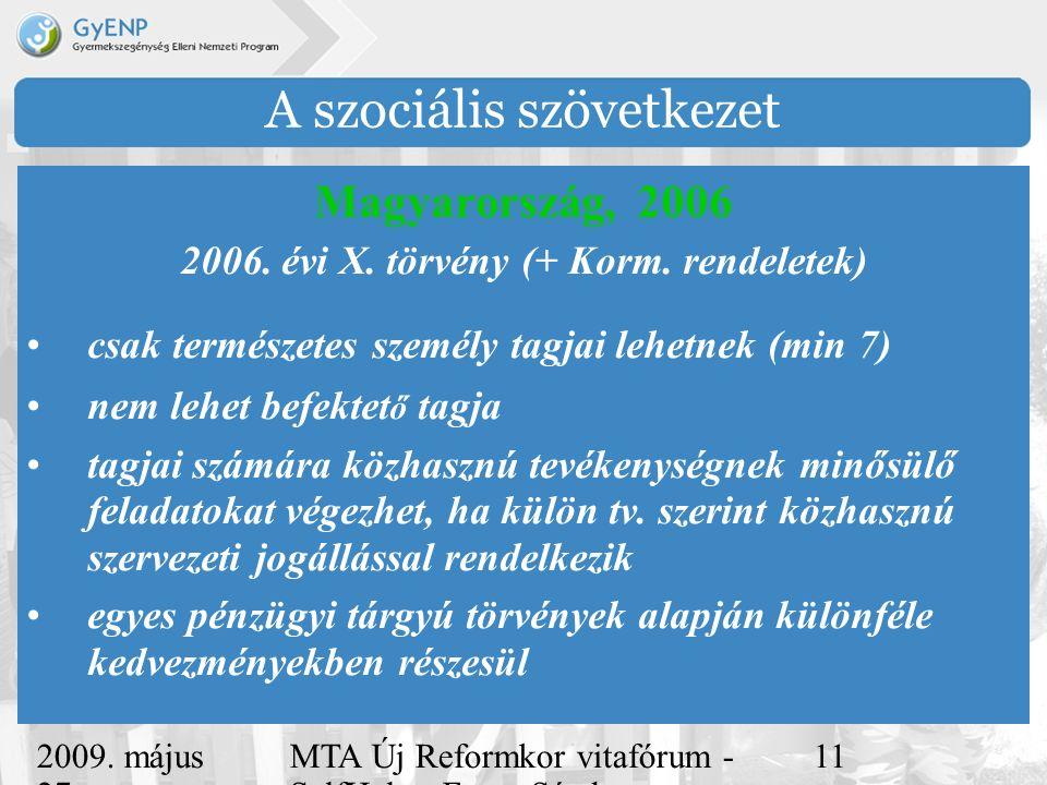 2009. május 27. MTA Új Reformkor vitafórum - SelfHelp - Ferge Sándor, eMultiCoop 11 A szociális szövetkezet Magyarország, 2006 2006. évi X. törvény (+