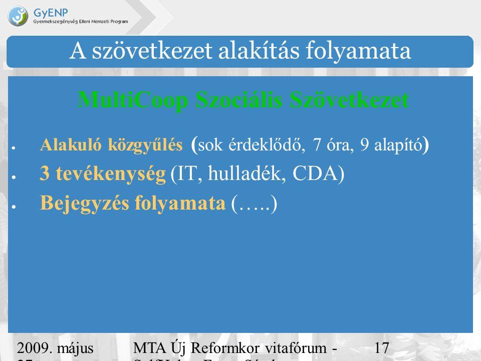 2009. május 27. MTA Új Reformkor vitafórum - SelfHelp - Ferge Sándor, eMultiCoop 17 A szövetkezet alakítás folyamata  Alakuló közgyűlés ( sok érdeklő