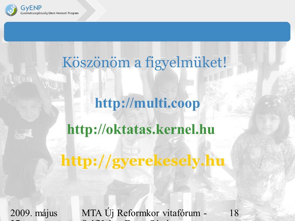 2009. május 27. MTA Új Reformkor vitafórum - SelfHelp - Ferge Sándor, eMultiCoop 18 Köszönöm a figyelmüket! http://gyerekesely.hu http://multi.coop ht