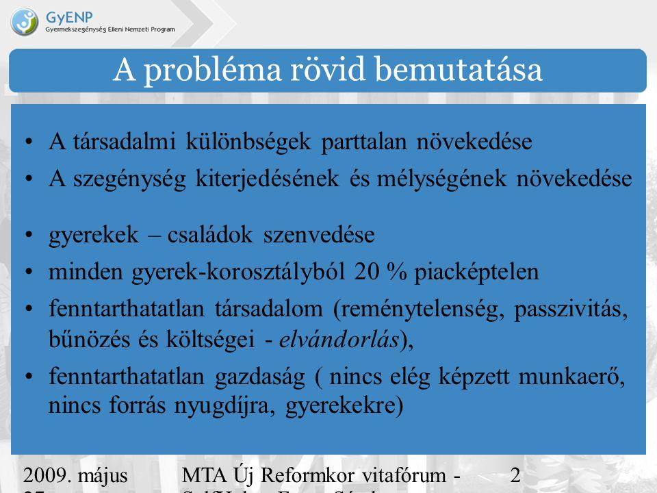 2009. május 27. MTA Új Reformkor vitafórum - SelfHelp - Ferge Sándor, eMultiCoop 2 A probléma rövid bemutatása A társadalmi különbségek parttalan növe