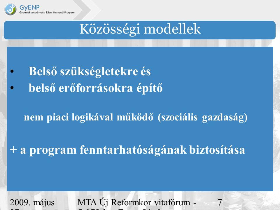 2009. május 27. MTA Új Reformkor vitafórum - SelfHelp - Ferge Sándor, eMultiCoop 7 Közösségi modellek Belső szükségletekre és belső erőforrásokra épít