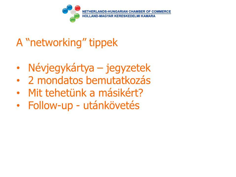 """A """"networking"""" tippek Névjegykártya – jegyzetek 2 mondatos bemutatkozás Mit tehetünk a másikért? Follow-up - utánkövetés"""