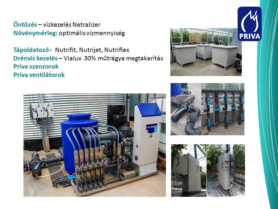 Öntözés – vízkezelés Netralizer Növénymérleg: optimális vízmennyiség Tápoldatozó - Nutrifit, Nutrijet, Nutriflex Drénvíz kezelés – Vialux 30% műtrágya