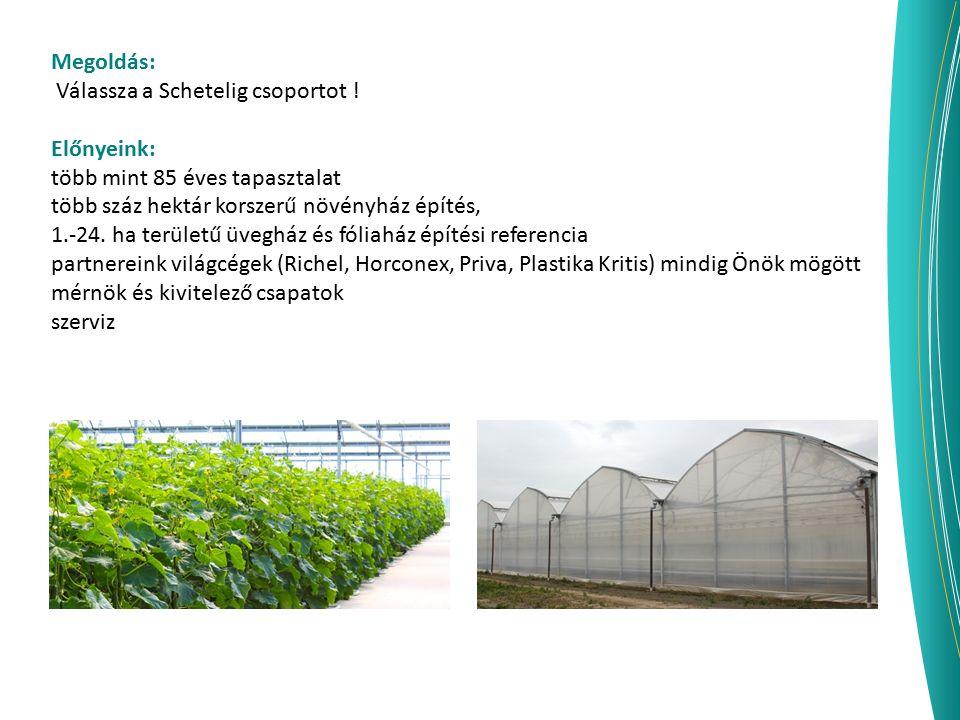 Megoldás: Válassza a Schetelig csoportot ! Előnyeink: több mint 85 éves tapasztalat több száz hektár korszerű növényház építés, 1.-24. ha területű üve