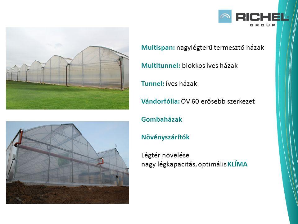 Multispan: nagylégterű termesztő házak Multitunnel: blokkos íves házak Tunnel: íves házak Vándorfólia: OV 60 erősebb szerkezet Gombaházak Növényszárít