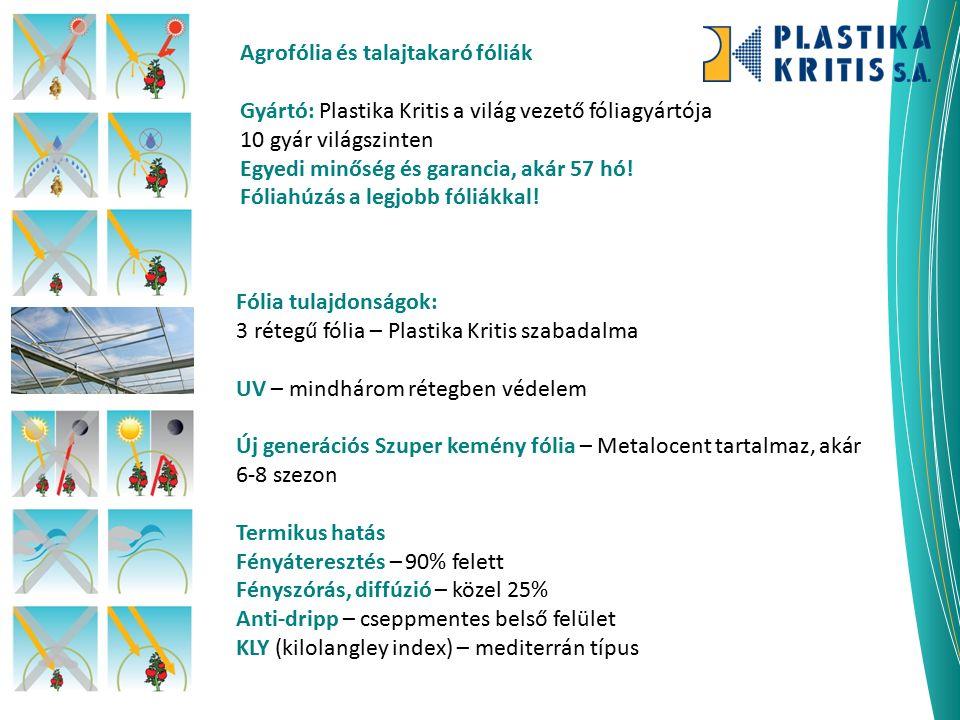 Agrofólia és talajtakaró fóliák Gyártó: Plastika Kritis a világ vezető fóliagyártója 10 gyár világszinten Egyedi minőség és garancia, akár 57 hó! Fóli