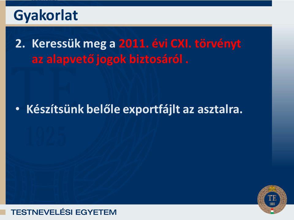 Gyakorlat 2.Keressük meg a 2011.évi CXI. törvényt az alapvető jogok biztosáról.