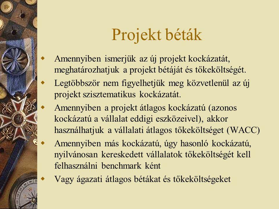 Projekt béták  Amennyiben ismerjük az új projekt kockázatát, meghatározhatjuk a projekt bétáját és tőkeköltségét.  Legtöbbször nem figyelhetjük meg