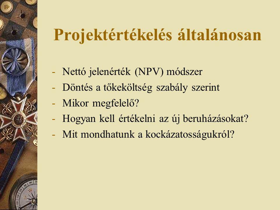 Projektértékelés általánosan -Nettó jelenérték (NPV) módszer -Döntés a tőkeköltség szabály szerint -Mikor megfelelő? -Hogyan kell értékelni az új beru