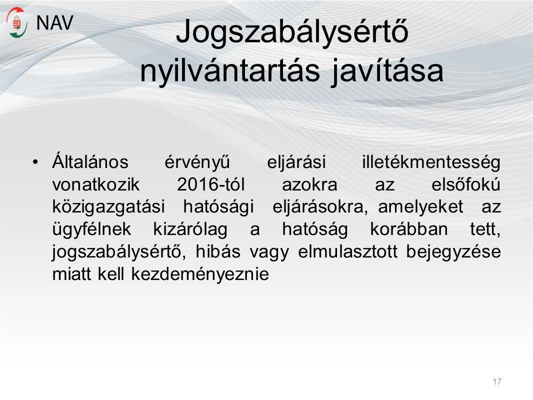 Jogszabálysértő nyilvántartás javítása Általános érvényű eljárási illetékmentesség vonatkozik 2016-tól azokra az elsőfokú közigazgatási hatósági eljár
