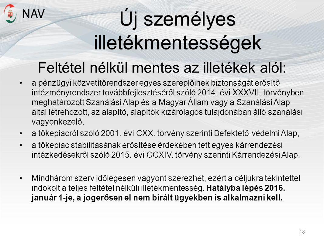 Új személyes illetékmentességek Feltétel nélkül mentes az illetékek alól: a pénzügyi közvetítőrendszer egyes szereplőinek biztonságát erősítő intézményrendszer továbbfejlesztéséről szóló 2014.