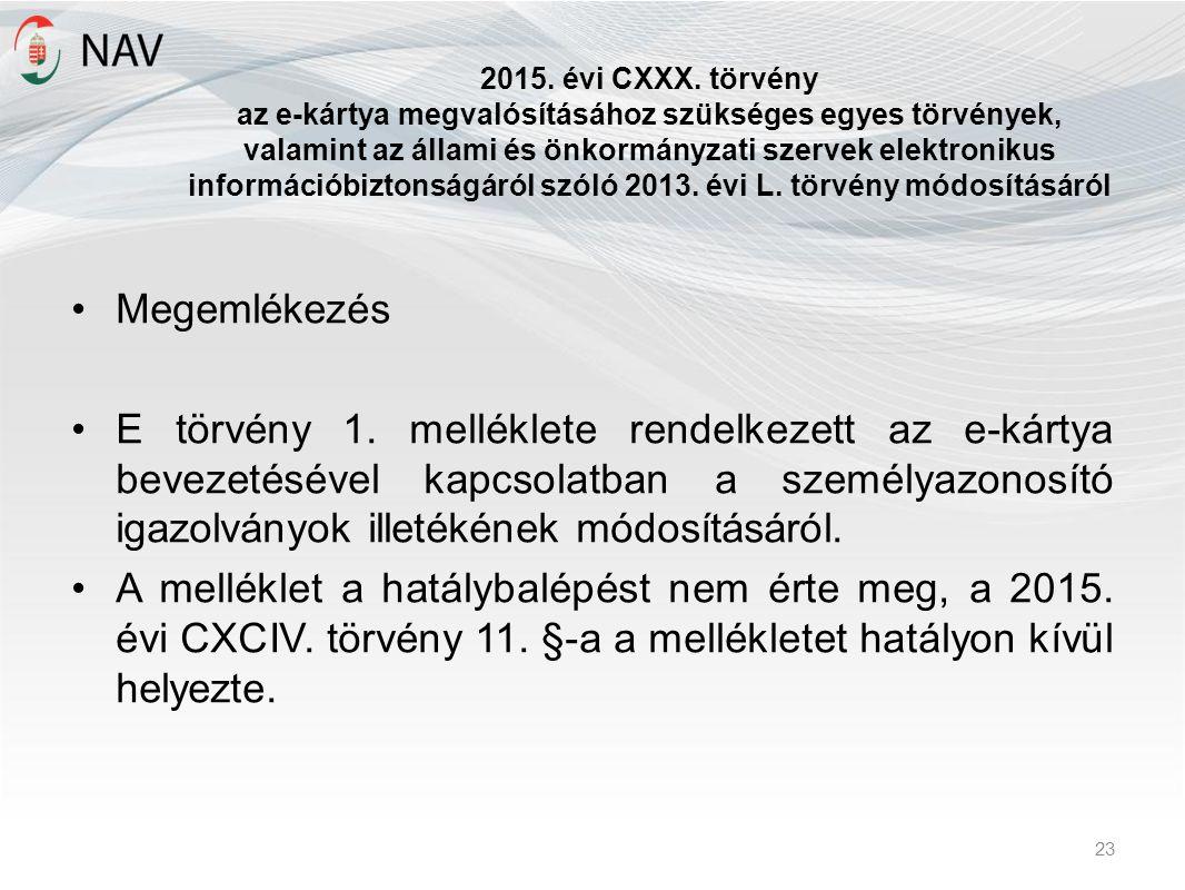 2015. évi CXXX. törvény az e-kártya megvalósításához szükséges egyes törvények, valamint az állami és önkormányzati szervek elektronikus információbiz