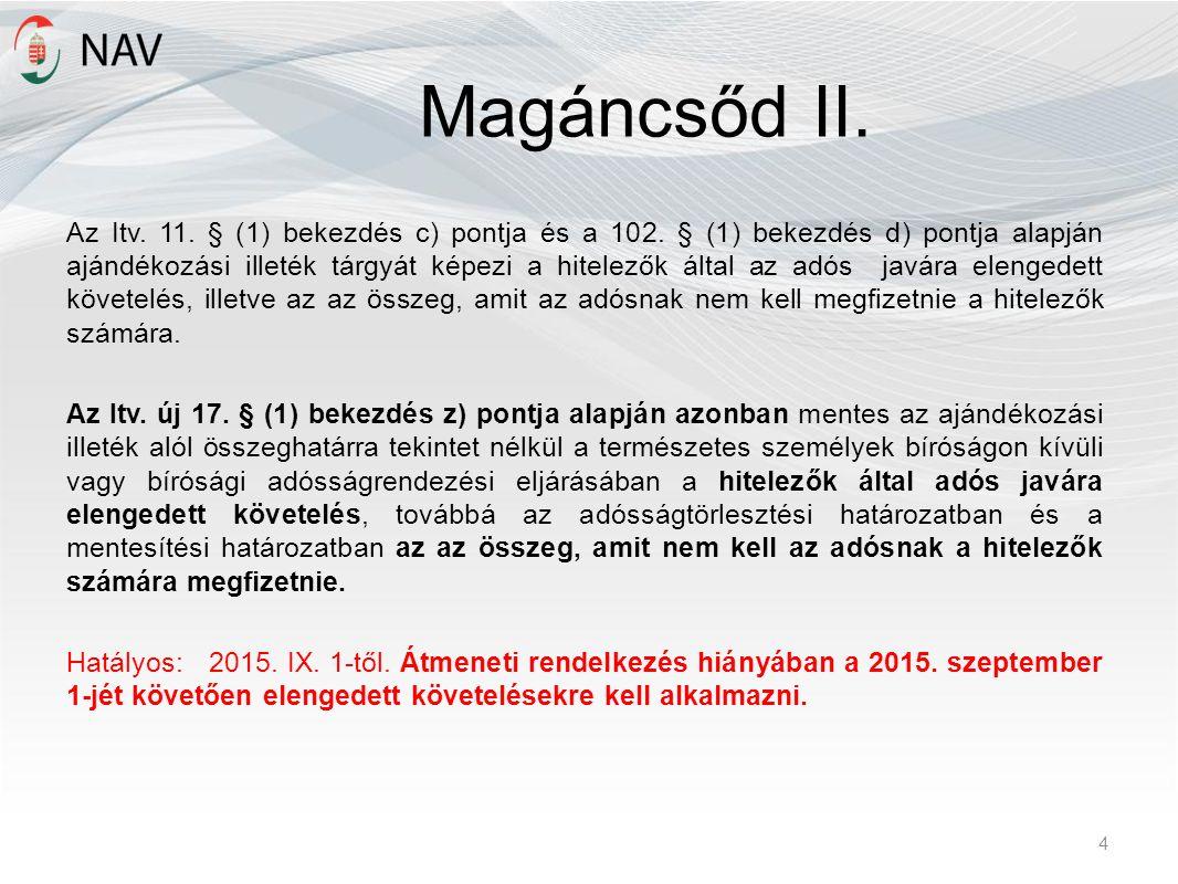 Magáncsőd II. Az Itv. 11. § (1) bekezdés c) pontja és a 102. § (1) bekezdés d) pontja alapján ajándékozási illeték tárgyát képezi a hitelezők által az