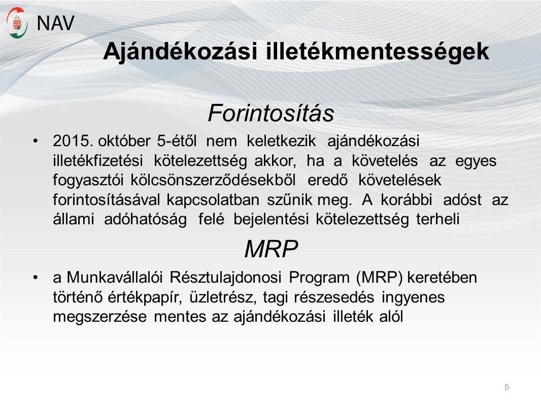 Ajándékozási illetékmentességek Forintosítás 2015.