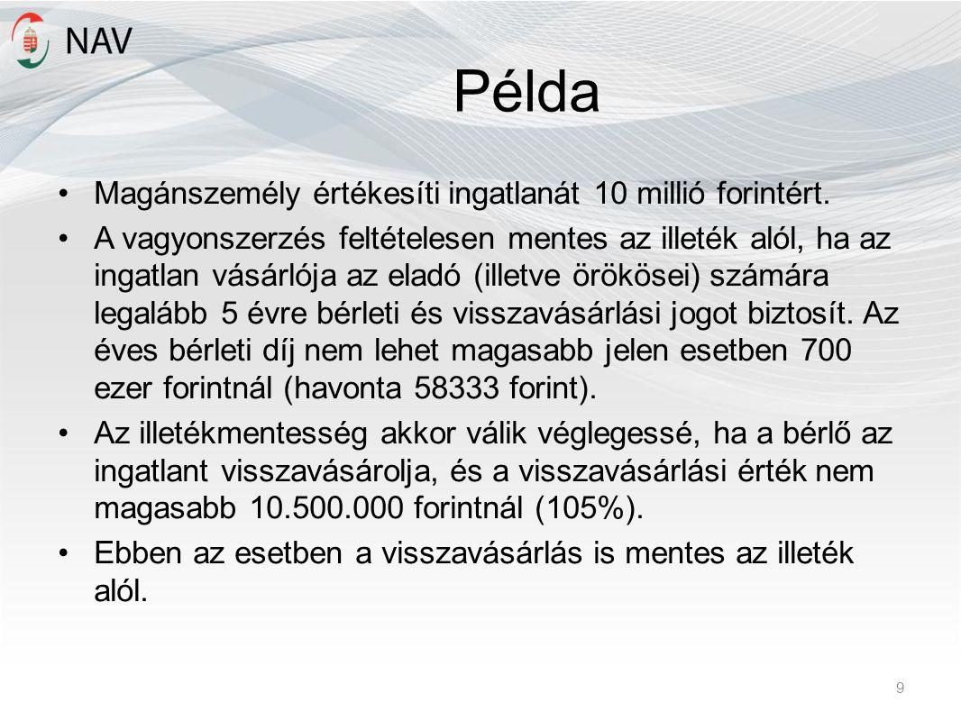 Példa Magánszemély értékesíti ingatlanát 10 millió forintért.