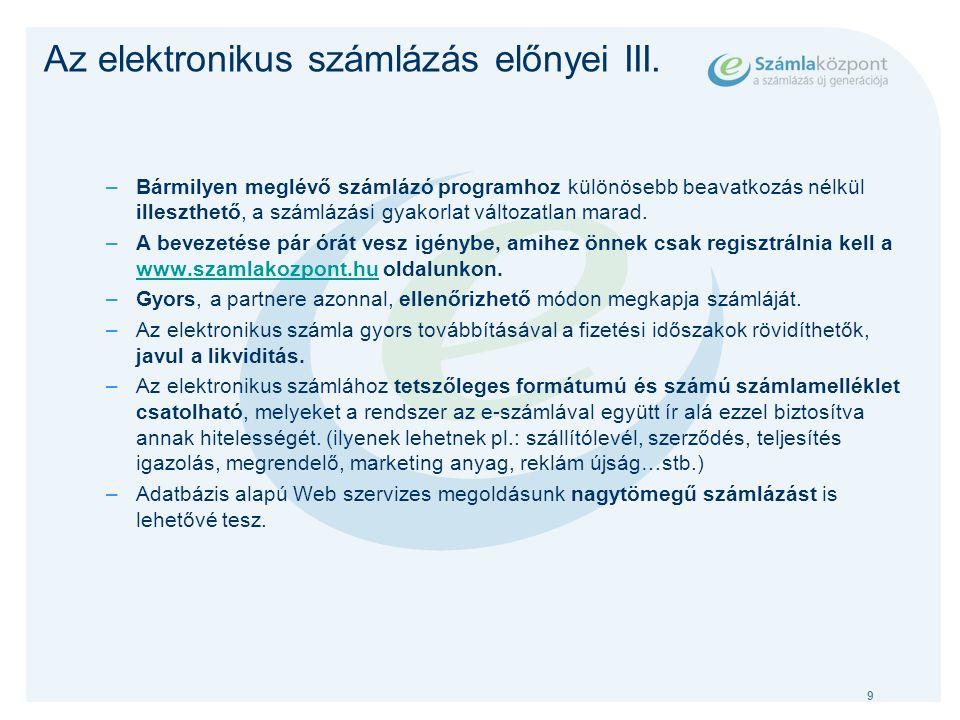 10 Az elektronikus számlázás előnyei IV.