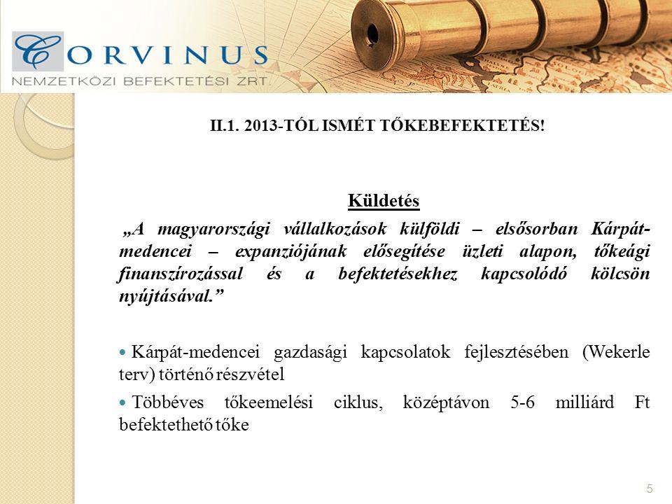 II.1. 2013-TÓL ISMÉT TŐKEBEFEKTETÉS.