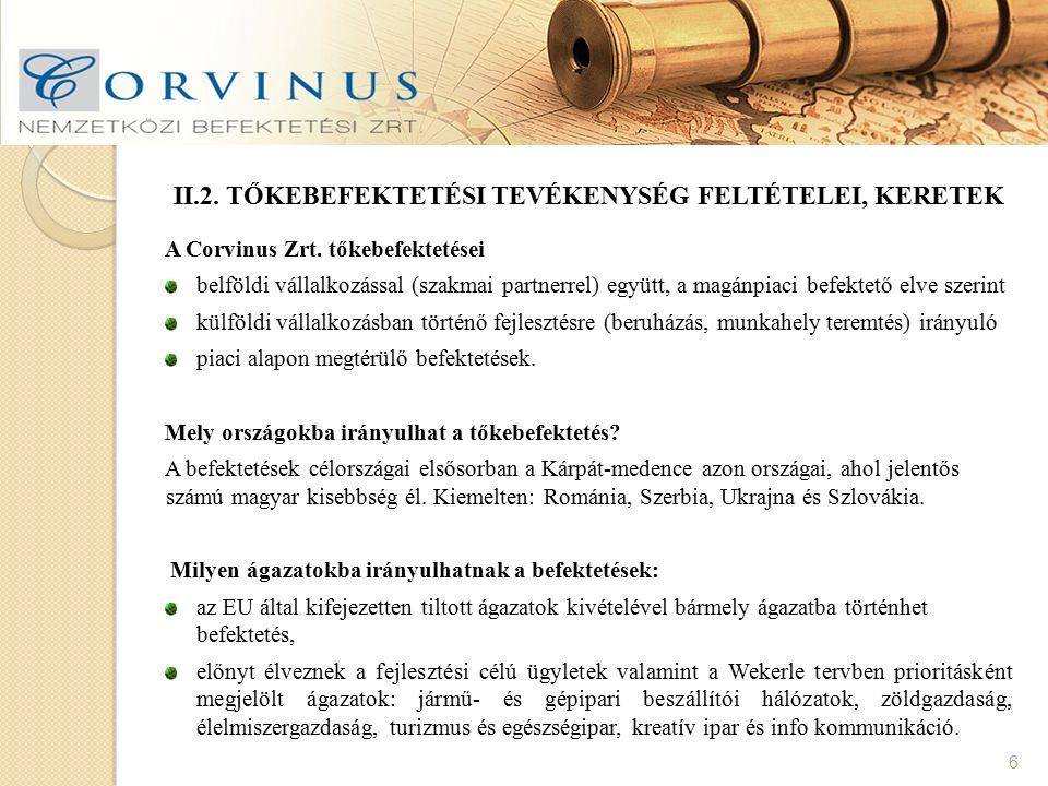 II.2. TŐKEBEFEKTETÉSI TEVÉKENYSÉG FELTÉTELEI, KERETEK 6 A Corvinus Zrt. tőkebefektetései belföldi vállalkozással (szakmai partnerrel) együtt, a magánp