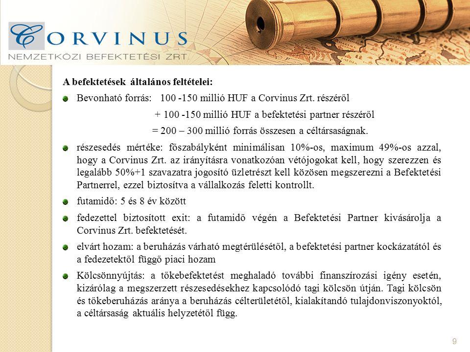 9 A befektetések általános feltételei: Bevonható forrás: 100 -150 millió HUF a Corvinus Zrt. részéről + 100 -150 millió HUF a befektetési partner rész