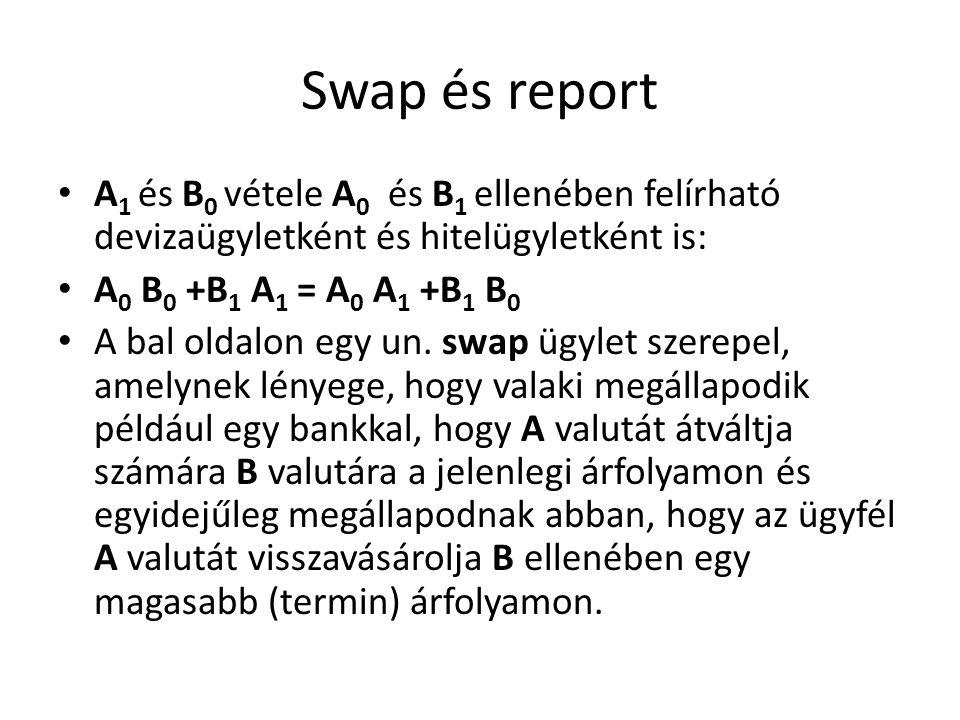 Swap és report A 1 és B 0 vétele A 0 és B 1 ellenében felírható devizaügyletként és hitelügyletként is: A 0 B 0 +B 1 A 1 = A 0 A 1 +B 1 B 0 A bal oldalon egy un.