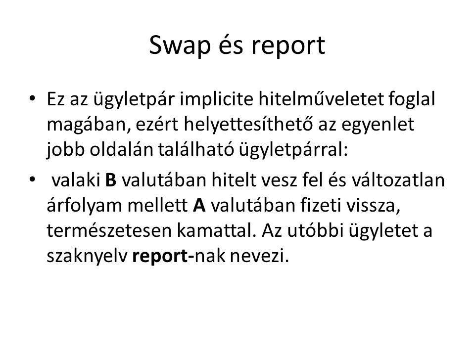Swap és report Ez az ügyletpár implicite hitelműveletet foglal magában, ezért helyettesíthető az egyenlet jobb oldalán található ügyletpárral: valaki B valutában hitelt vesz fel és változatlan árfolyam mellett A valutában fizeti vissza, természetesen kamattal.