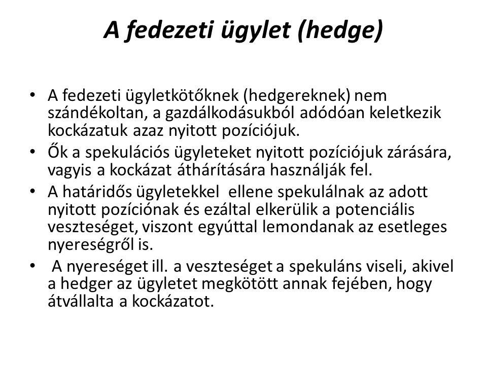 A fedezeti ügylet (hedge) A fedezeti ügyletkötőknek (hedgereknek) nem szándékoltan, a gazdálkodásukból adódóan keletkezik kockázatuk azaz nyitott pozíciójuk.