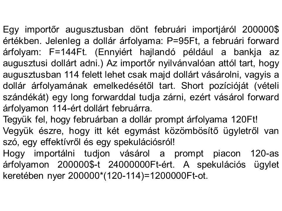 Egy importőr augusztusban dönt februári importjáról 200000$ értékben.