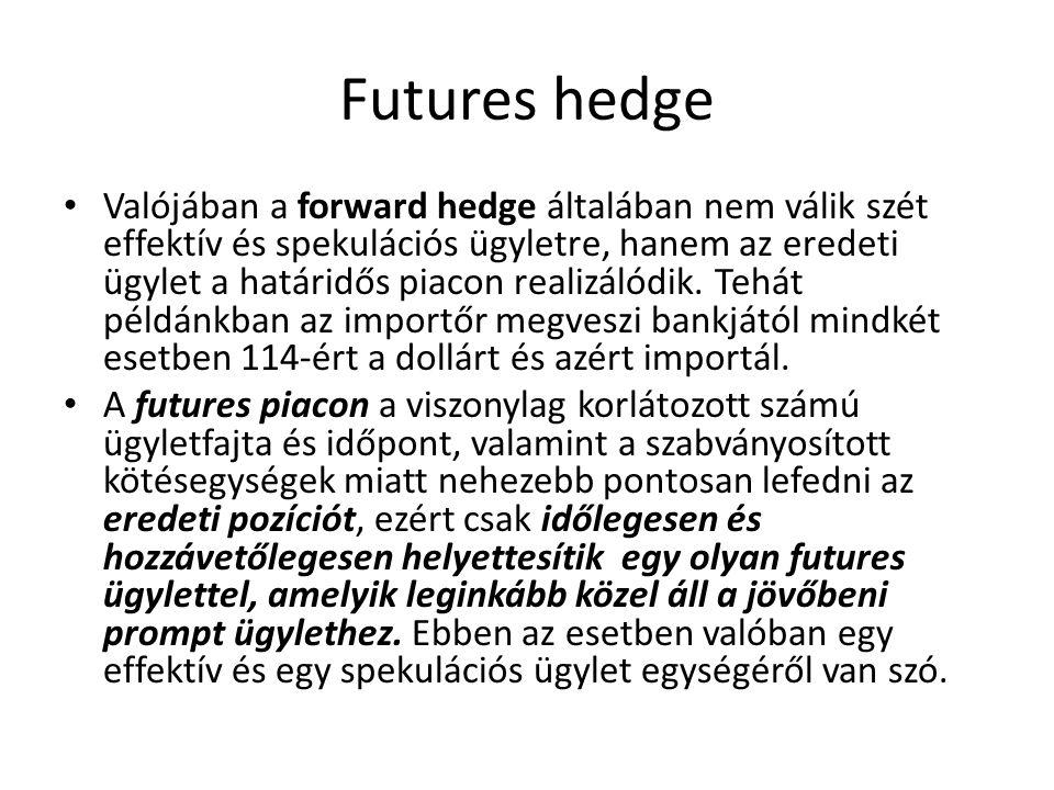 Futures hedge Valójában a forward hedge általában nem válik szét effektív és spekulációs ügyletre, hanem az eredeti ügylet a határidős piacon realizálódik.