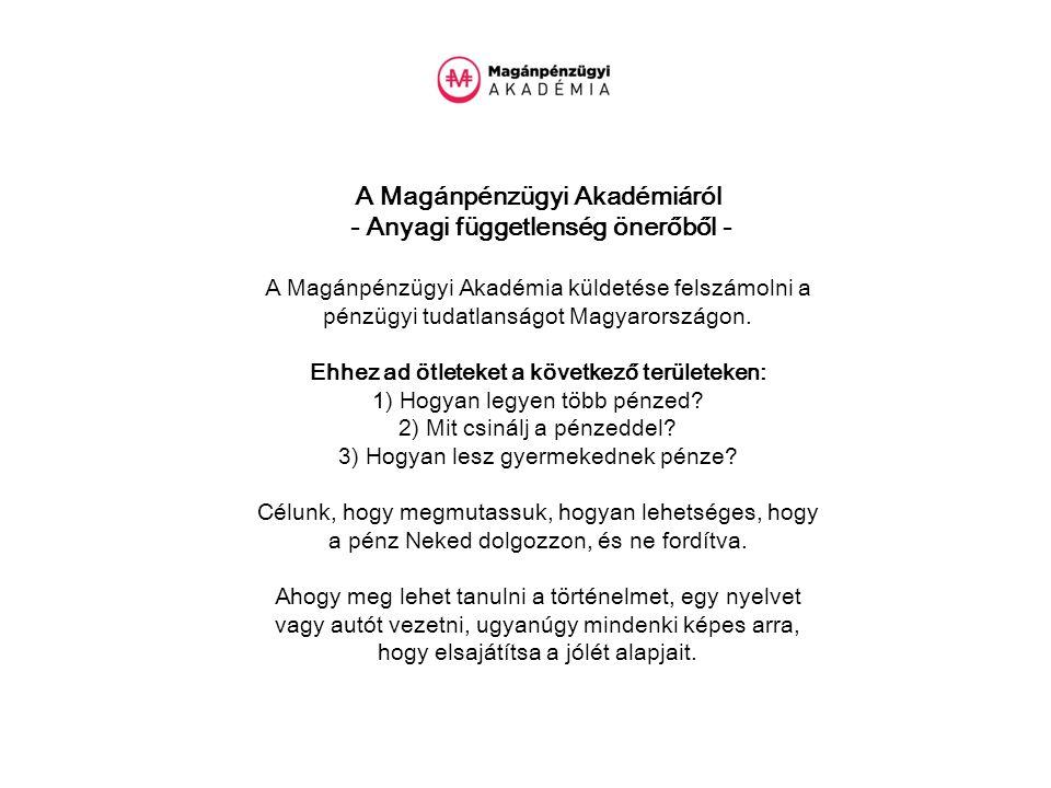 A Magánpénzügyi Akadémiáról - Anyagi függetlenség önerőből - A Magánpénzügyi Akadémia küldetése felszámolni a pénzügyi tudatlanságot Magyarországon.